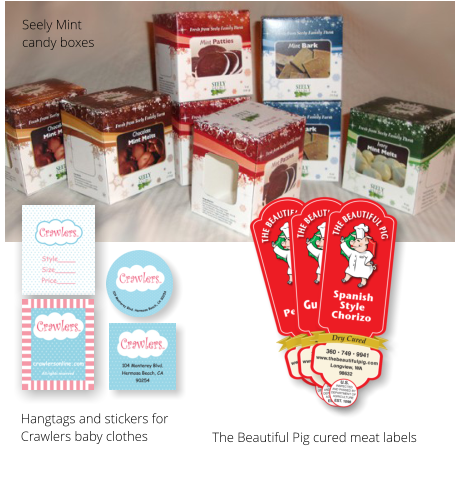 Seely Mint  candy boxes The Beautiful Pig cured meat labels Hangtags and stickers for Crawlers baby clothes