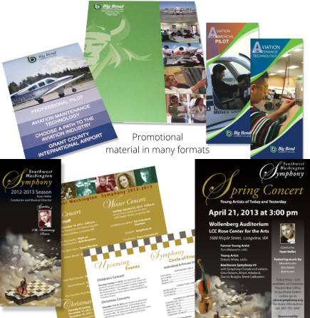 Promotional  material in many formats